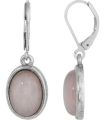 2028 silver-tone semi precious rose quartz oval drop earrings