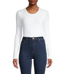 for the republic women's crewneck long-sleeve bodysuit - white - size m