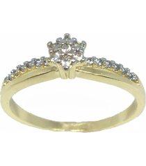 anel kumbayá solitário chuveiro semijoia banho de ouro 18k cravação de zircônia detalhe em ródio