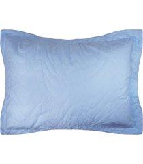 porta travesseiro avulso percal 300 fios - algodáo - home collection - appel - azul - tricae