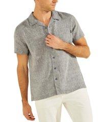 guess men's eco linen camp shirt