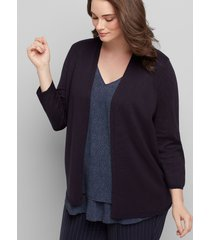 lane bryant women's open-front cardigan - 3/4 sleeves 10/12 night sky