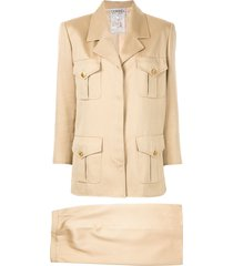 chanel pre-owned setup skirt suit - brown