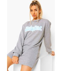 millennial sweatshirt jurk met tekst, grey marl