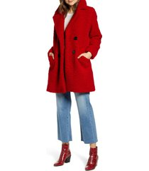 women's kenneth cole new york double breasted teddy bear coat, size medium - red