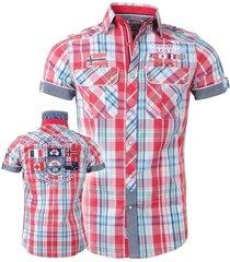 geographical norway heren korte mouw overhemd zempola koraal navy rood