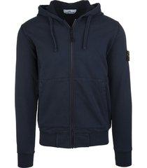 stone island blue cotton logo patch cotton hoodie