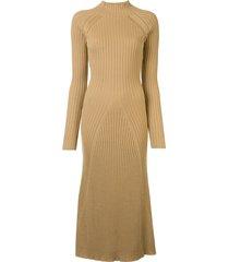anna quan mabel mock-neck ribbed-knit dress - brown
