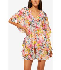 bleu by rod beattie beachy keen chiffon ruffled caftan cover-up women's swimsuit