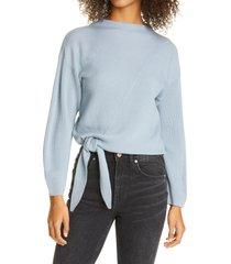 women's rebecca taylor ribbed side tie wool blend sweater, size x-large - blue