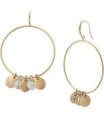 robert lee morris soho women's shaky coin gypsy hoop earrings