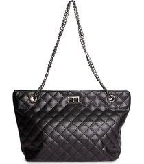 bolso textura con cadena color negro, talla uni