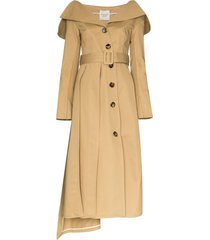 a.w.a.k.e. mode off-the-shoulder trench coat - neutrals