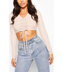 petite rib long sleeve ruched front crop top, stone