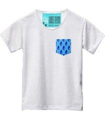 camiseta masculina algodão bolso estampa animal manga curta - masculino