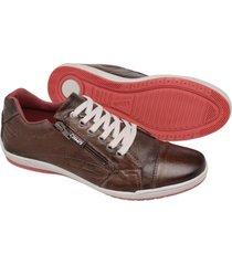 sapatenis couro tchwm shoes masculino ziper lateral dia dia marrom