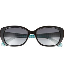 kate spade new york kenzie 53mm oval sunglasses in blckgreen /grey shaded at nordstrom