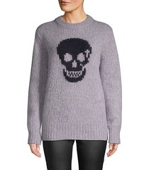 skull-print textured sweater