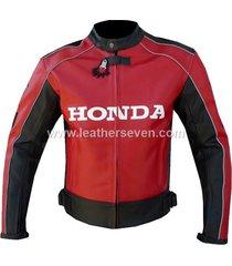 men mens honda red cowhide leather motorcycle motorbike biker armour jacket