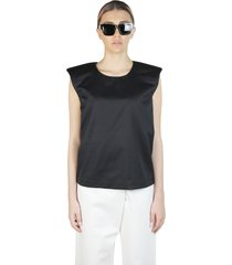padded shoulder silk top
