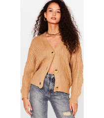 womens case in pointelle button-down cardigan - camel
