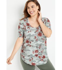 maurices plus size womens 24/7 camo floral flawless tee green