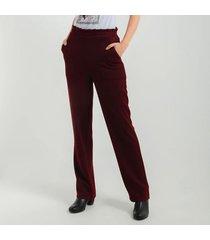 pantalon para mujer en doble punto cafe color rojo talla 10