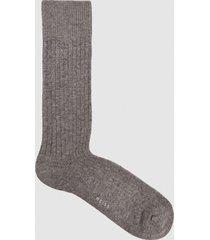 reiss kane - wool blend ribbed socks in charcoal, mens