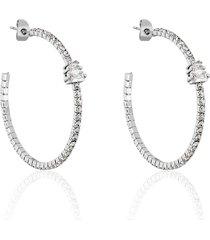 orecchini a cerchio in metallo rodiato e strass per donna