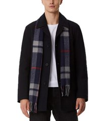 tommy hilfiger men's walking coat with removable plaid scarf