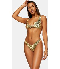 orange tie notch crop bikini top - orange