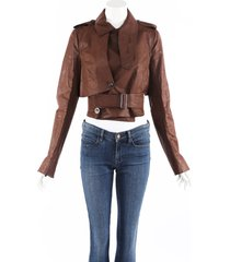 rick owens linen cotton belted cropped jacket brown sz: s