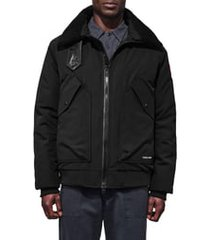 men's canada goose bromley slim fit down bomber jacket with genuine shearling collar, size small - black