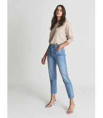 reiss raye - high rise slim straight fit jeans in pale blue, womens, size 32