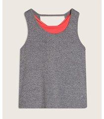 camiseta doble prenda en malla jaspe