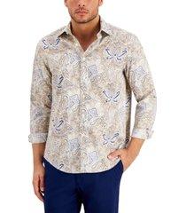 tasso elba men's folara paisley printed cotton shirt, created for macy's