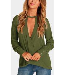 blusa cruzada con cuello de pico profundo en la parte delantera verde