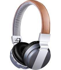 audífonos gamer, bt-008 libres de audifonos bluetooth manos libres auricular plegable con cuero stent + hd mic fuerte estéreo bajo + cable de doble modo 4 colores (gris)