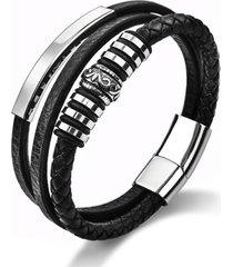 manilla pulsera trenzada acero inoxidable negro-1
