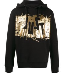 just cavalli metallic-logo print hoodie - black