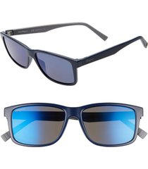 men's salvatore ferragamo 57mm square sunglasses - blue/ grey