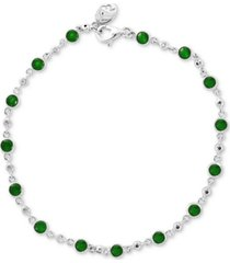 effy emerald (1-3/4 ct. t.w.) & diamond (1/6 ct. t.w.) bracelet in 14k white gold (also available in ruby)