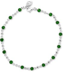 effy emerald (1-3/4 ct. t.w.) & diamond (1/6 ct. t.w.) bracelet in 14k white gold (also available in sapphire or ruby)