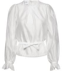 sheer blouse with back buttons and puffed sleeves blus långärmad vit designers, remix