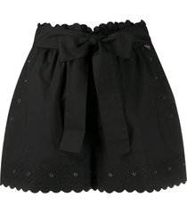 twin-set embroidered detail shorts - black