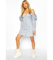 cotton cold shoulder puff sleeve mini dress, pastel blue