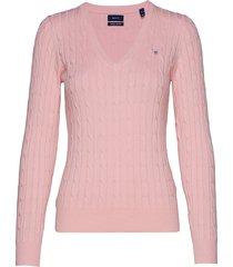 stretch cotton cable v-neck stickad tröja rosa gant