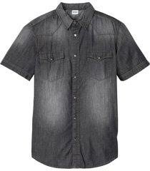 camicia in jeans a maniche corte slim fit (grigio) - john baner jeanswear