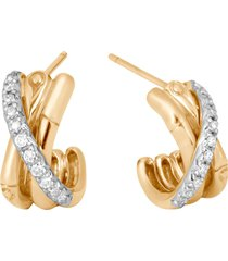 'bamboo' diamond 18k gold hoop earrings
