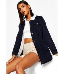 lange corduroy jas met nepwollen voering, navy